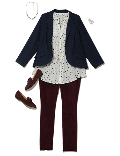 a printed button-up under a navy blazer paired with burgundy denim and loafers.