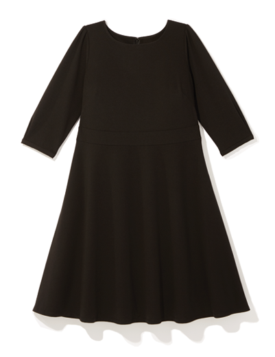 Plus size black fit and flare dress
