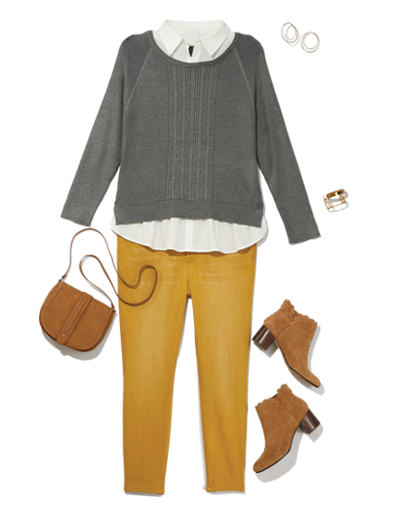 mustard colored jeans get a professional update with a button down layered under a sweater and paired with booties.