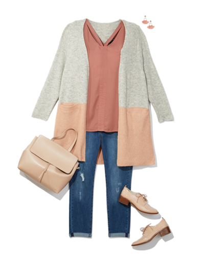 plus size women's workwear denim jeans and cardigan pair well with brogues and a tank for work.