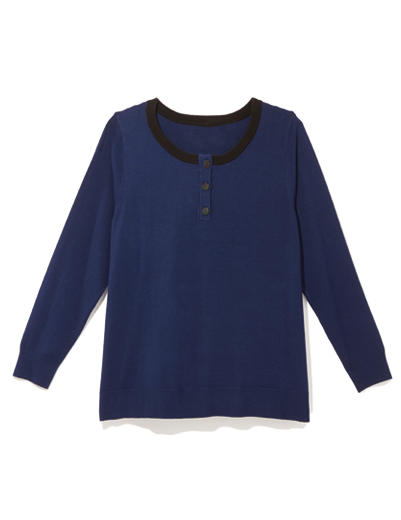 Plus size sweater in navy with black collar.