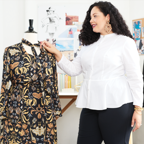 Girl With Curves blogger Tanehsa designing her iconic dress.