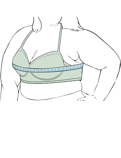 measuring bra size for bust size on plus size woman illustration