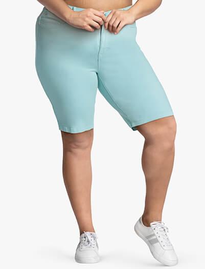 Plus size teal bermuda shorts | Dia&Co