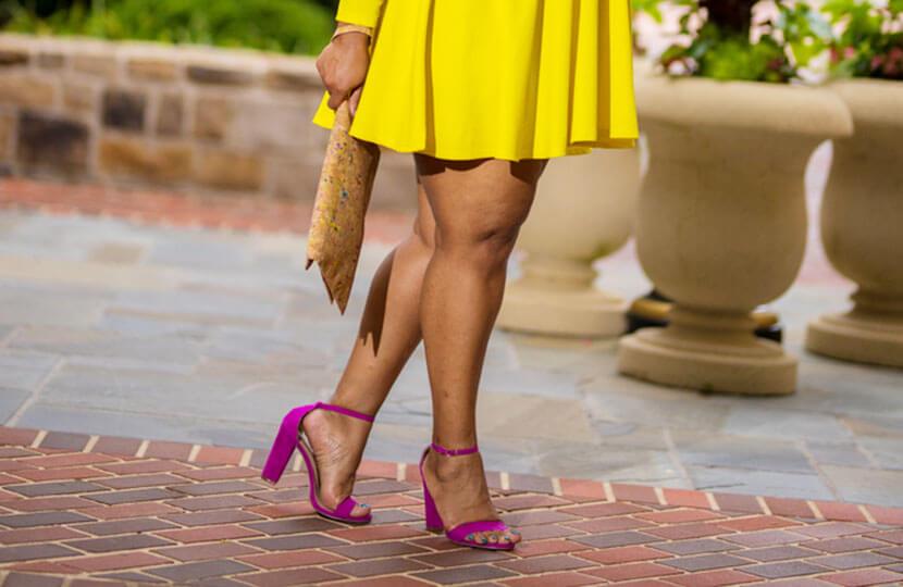 plus size blogger marie denee pink heels
