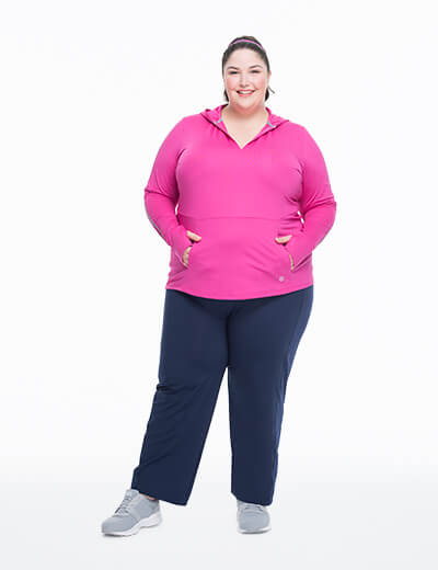 Eleven by Venus Williams in plus size navy leggings and pink top