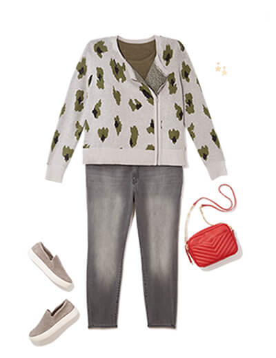 One of many casual outfits available at Dia&Co, this plus size outfit features a button up cardigan, plus size grey jeans, and sneakers.