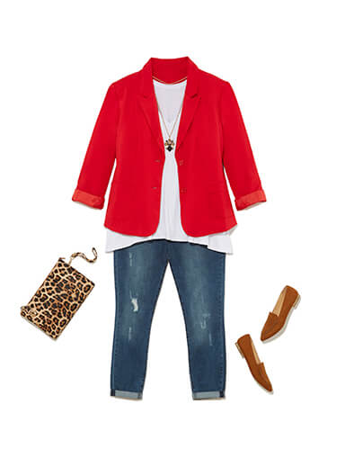 One of many classic outfits available at Dia&Co, this plus size outfit features jeans, a red blazer, and flats.