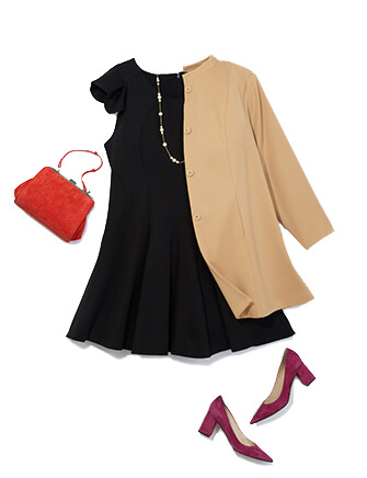 One of many classic outfits available at Dia&Co, this plus size outfit includes a black dress, trench coat, and red heels.