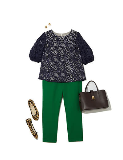 One of many classic outfits available at Dia&Co, this plus size outfit includes green trousers, a lace top, and cheetah-print flats.