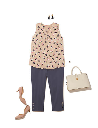 One of many classic outfits available at Dia&Co, this plus size outfit features a work trousers, a printed tank, and kitten heels.