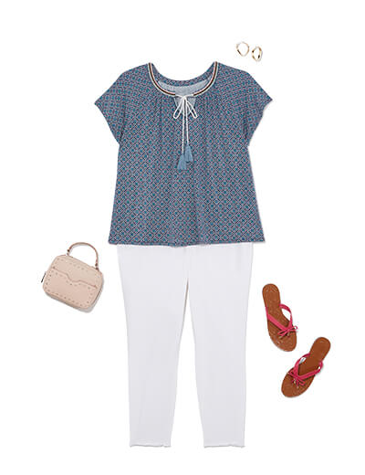 One of many casual outfits available at Dia&Co, this plus size outfit features plus size white denim, a blue top, sandals, and purse.