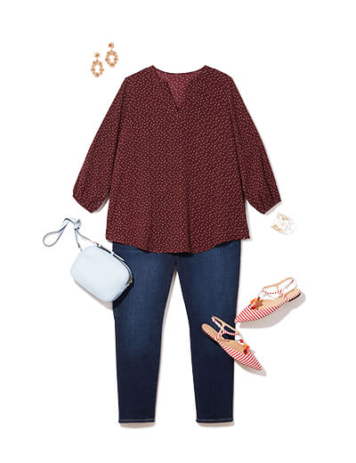 One of many casual outfits available at Dia&Co, this plus size outfit features plus size denim, a sweater, and pink sandals.