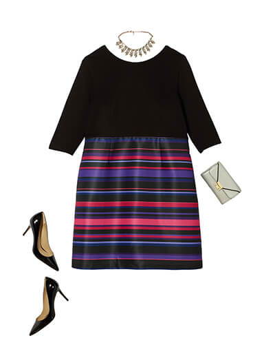 One of many classic outfits available at Dia&Co, this plus size outfit features a perfect striped dress for the holidays.