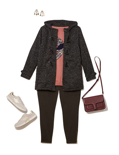 One of many casual outfits available at Dia&Co, this plus size outfit features a pink sweater, black plus size leggings, and black coat.