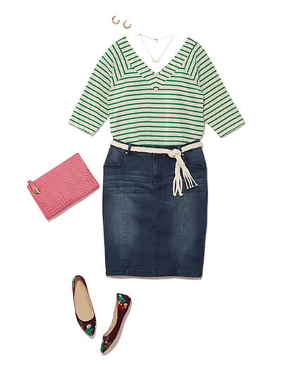This preppy style outfit features a denim skirt, striped top, pink clutch, and printed flats.