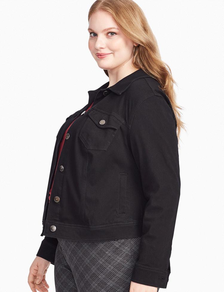Plus size black denim jacket   Dia&Co