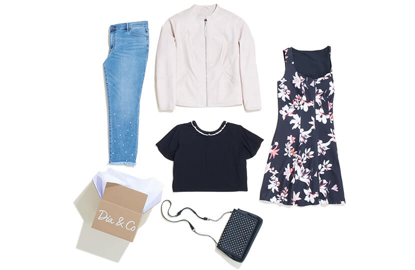 This Dia Style box features glam pieces including embellished denim, a crop top, floral dress, and bomber jacket.