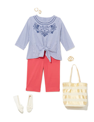 Featuring traditional style, this outfit features pink shorts, metallic accessories and an embroidered top.