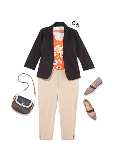 Featuring traditional style, this outfit includes khakis, a blazer, and a blouse.