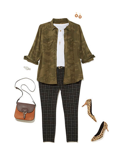 plus size camo jacket and plaid pants print mixing