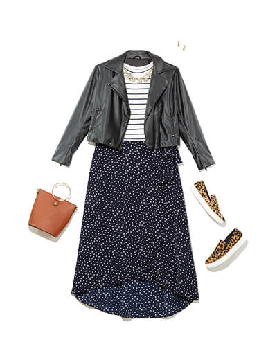 plus size striped shirt polka dot skirt print mixing