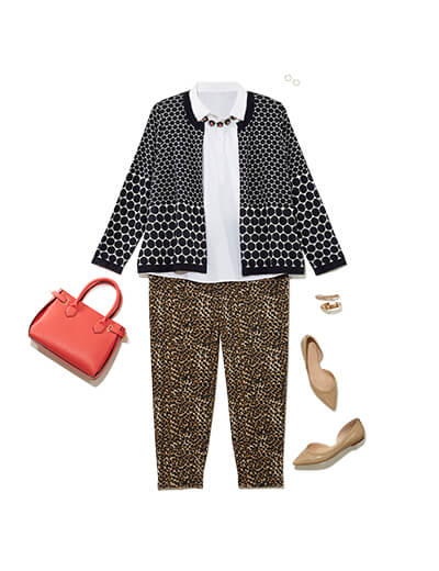 plus size black and white cardigan leopard pants print mixing