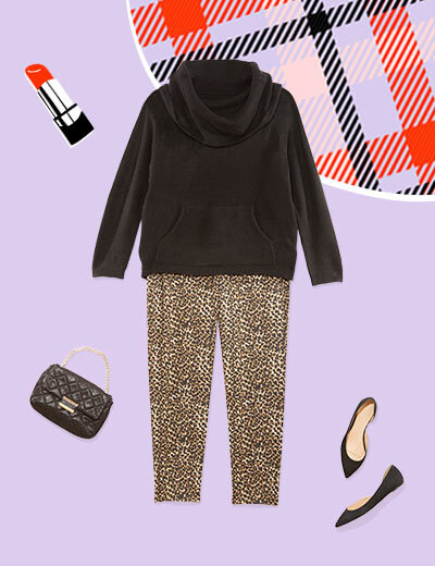 animal print pant, black turtleneck