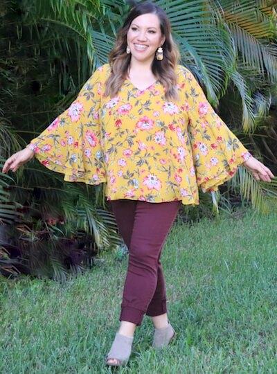 Blogger Angela Cruz in warm colors.