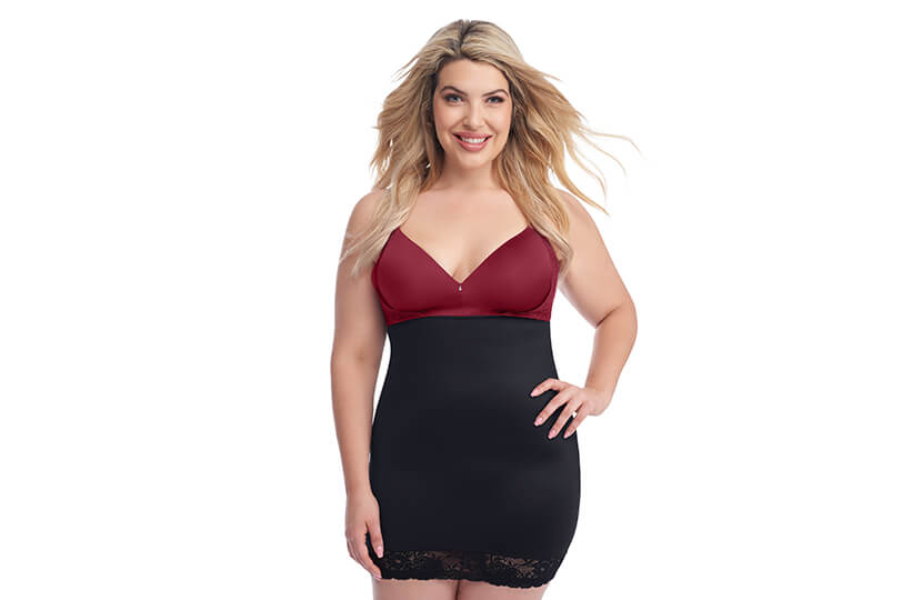 black slip shapewear, red bra