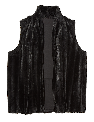 Plus size black faux fur vest