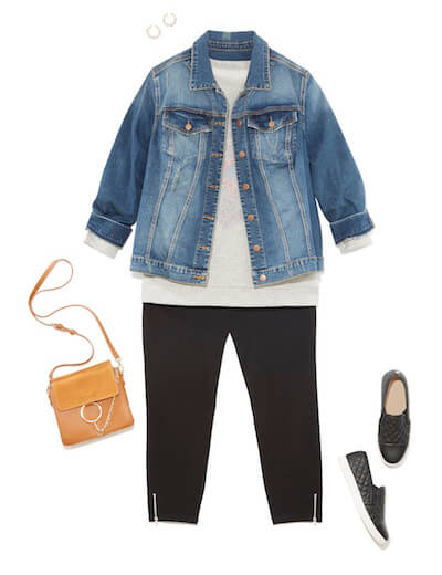 Leggings look with denim jacket and sneakers.