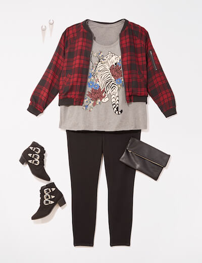 Leggings outfit with plaid bomber and graphic tee