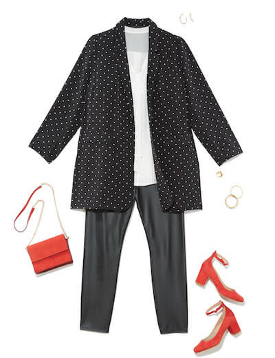 Leather leggings outfit with polka dot trench coat