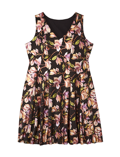 Plus size black fit and flare dress with metallic florals