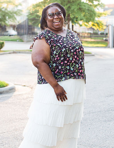 plus-size style evolution floral top white tiered maxi skirt