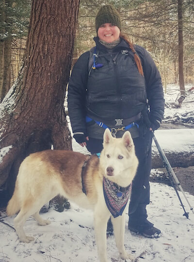Andrea DiMaio on a hike with her dog Rammu.