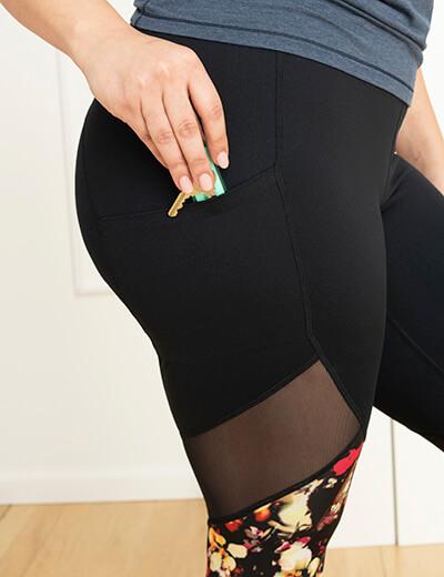 hidden pocket in active leggings plus size