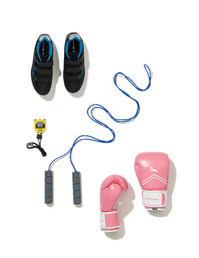 Jumprope, stop watch, sneakers, and boxing gloves