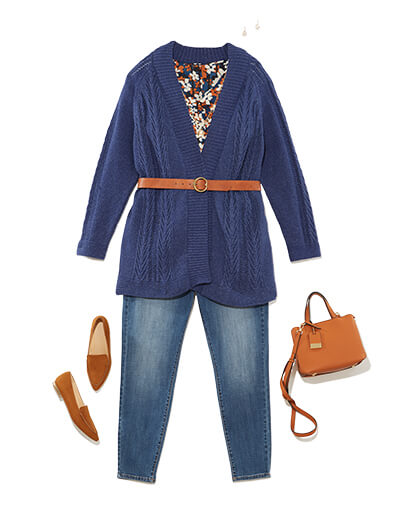 Winter outfit featuring a longline cardigan and and waist belt.