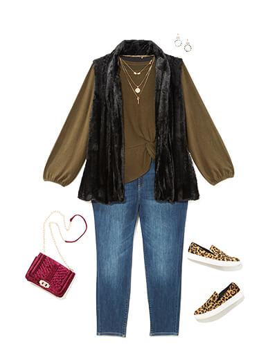 Winter outfit featuring a blouse under a faux fur vest.