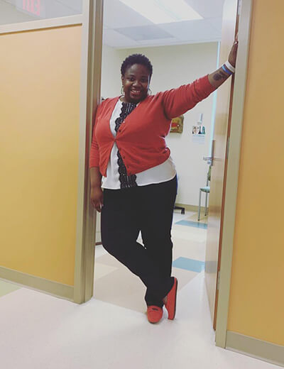 plus-size clothing red cardigan white button up black pants red shoes