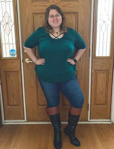 plus-size clothing teal shirt lattice denim riding boots