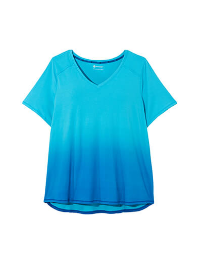 Blue plus size activewear top with ombre effect.