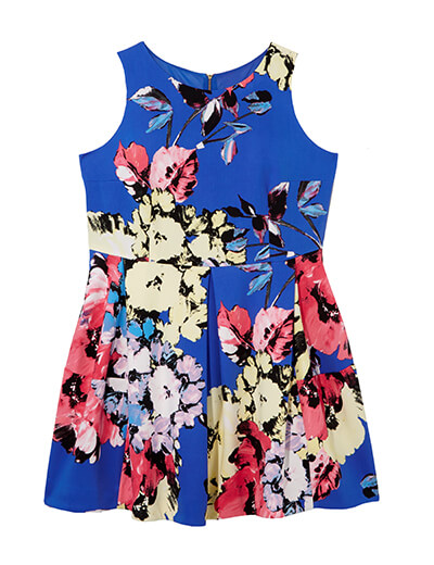 Blue fit-and-flare plus size dress featuring floral motif.