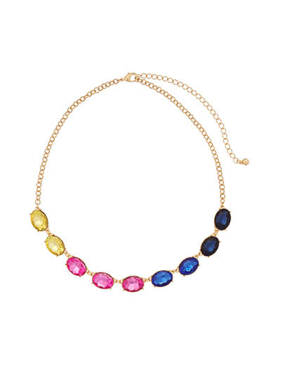 Necklace featuring brightly colored stones.