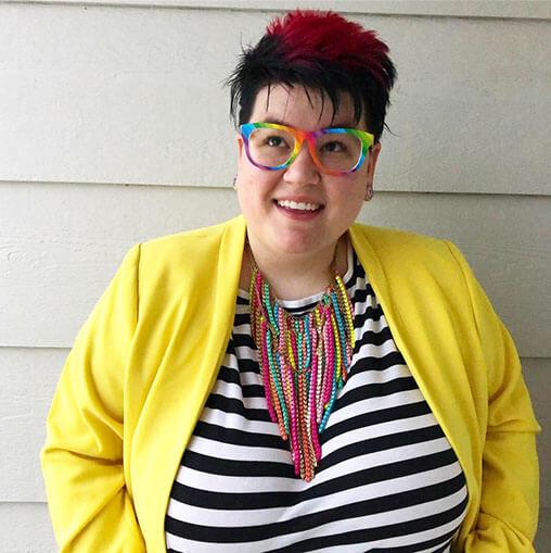 jess hays plus-size striped top yellow jacket