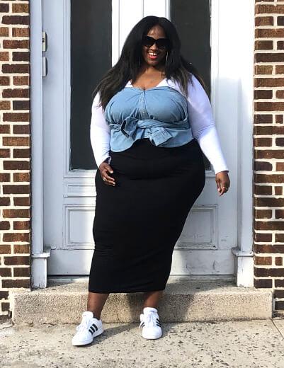 plus-size unexpected denim chambray over white tee black maxi skirt