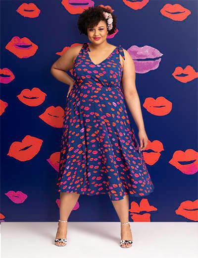 betsey johnson plus size dresses blue red lips sleeveless dress