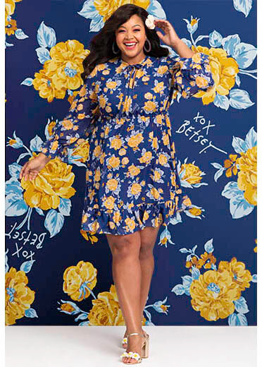 betsey johnson plus size dresses blue yellow long sleeve dress with ruffles